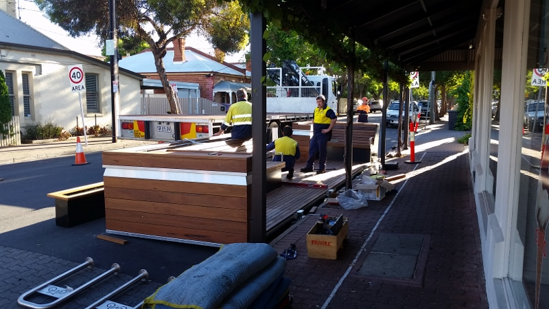 parklet under construction in Opey Street