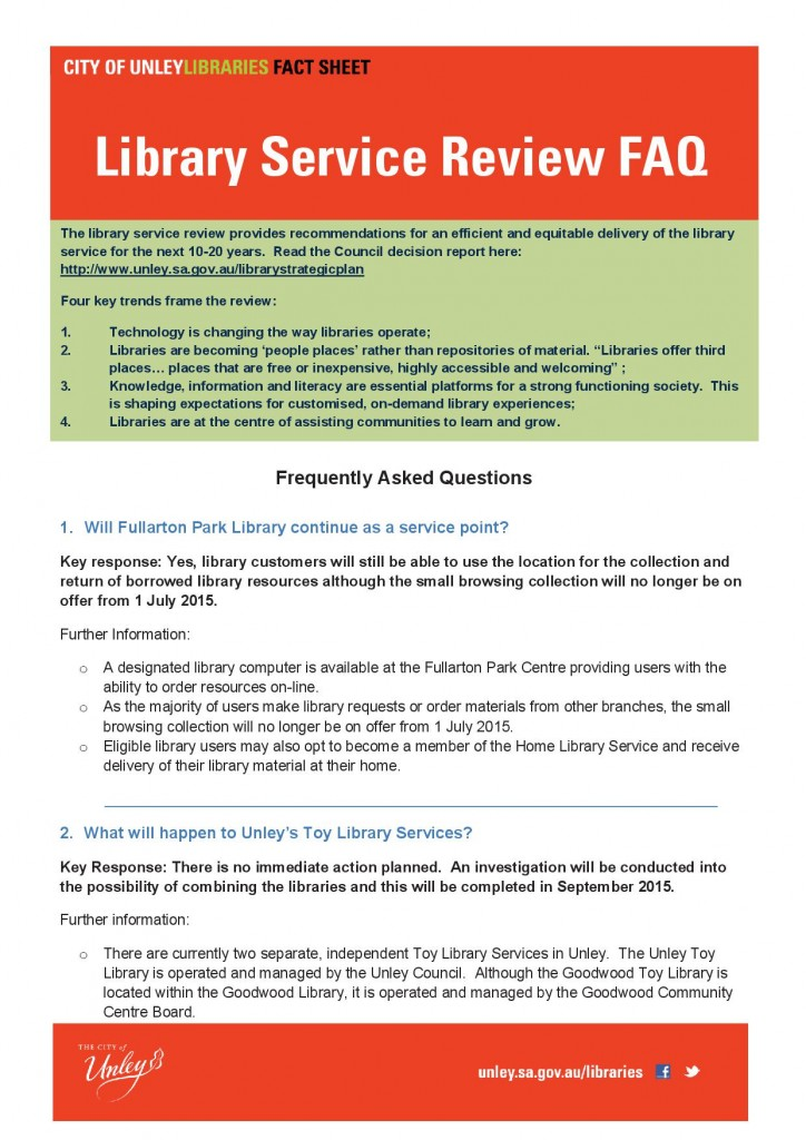 Library Service Review fact sheet