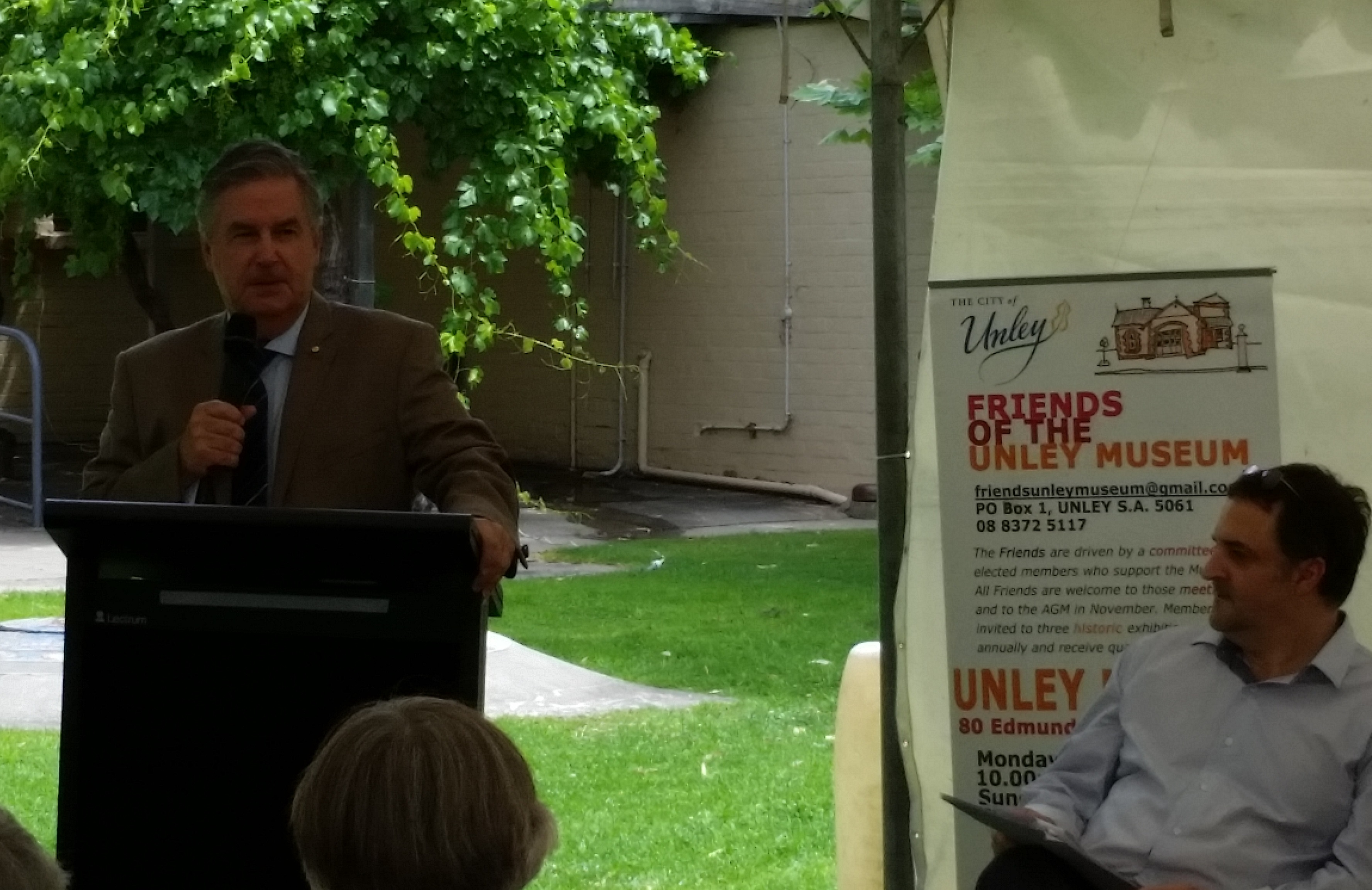 Rear Admiral Kevin Scarce opening At Home In war exhibition at the Unley Museum.